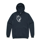 UNISEX WHITE WOLF LOGO HOODIE ON DARK BACKGROUND